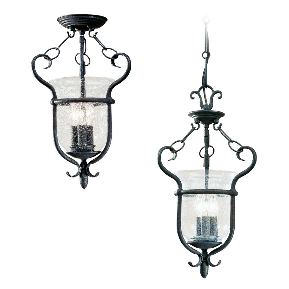Sea Gull 5101 07 Manor House 3 Light 12 Inch Weathered Iron Pendant Convertible Ceiling