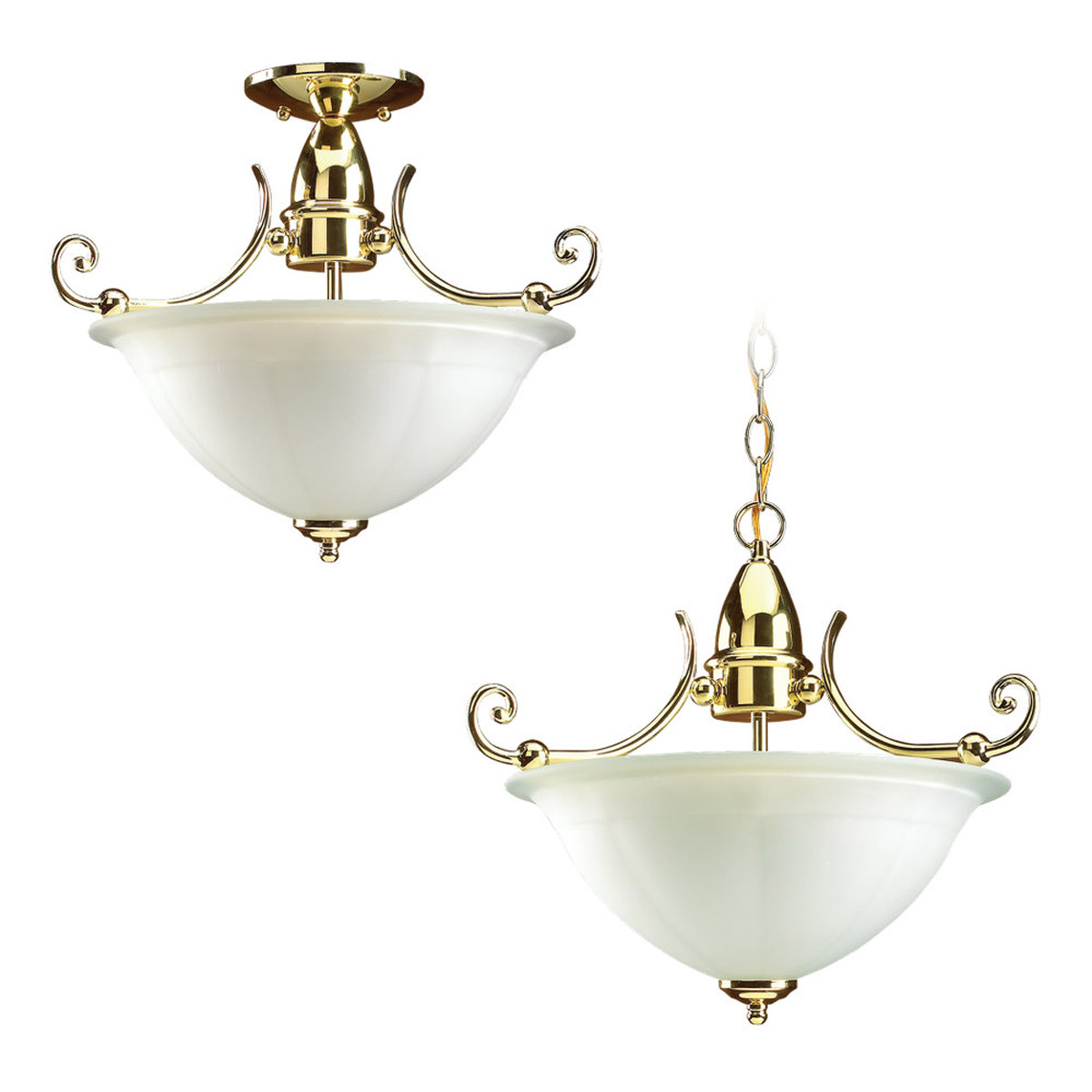 Sea Gull Lighting Canterbury 2 Light Pendant Convertible in Polished Brass 51050-02