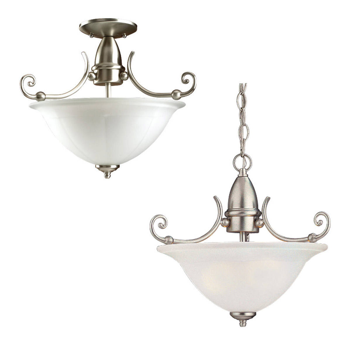 Sea Gull Lighting Canterbury 2 Light Pendant Convertible in Brushed Nickel 51050-962