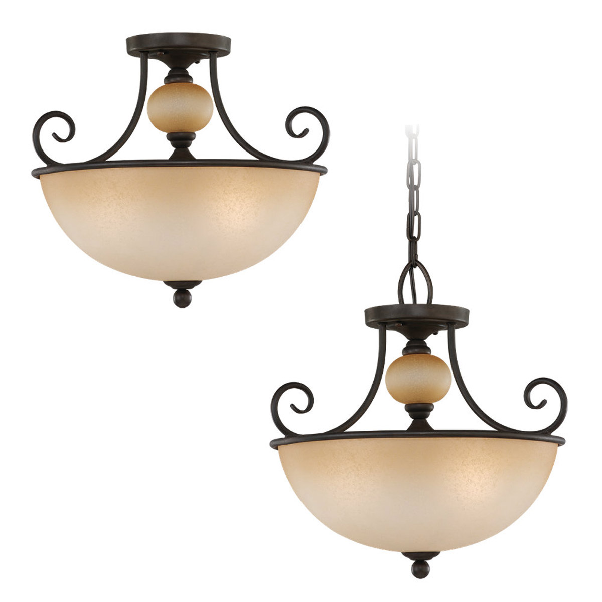Sea Gull Lighting Montclaire 3 Light Pendant Convertible in Olde Iron 51105-72 photo