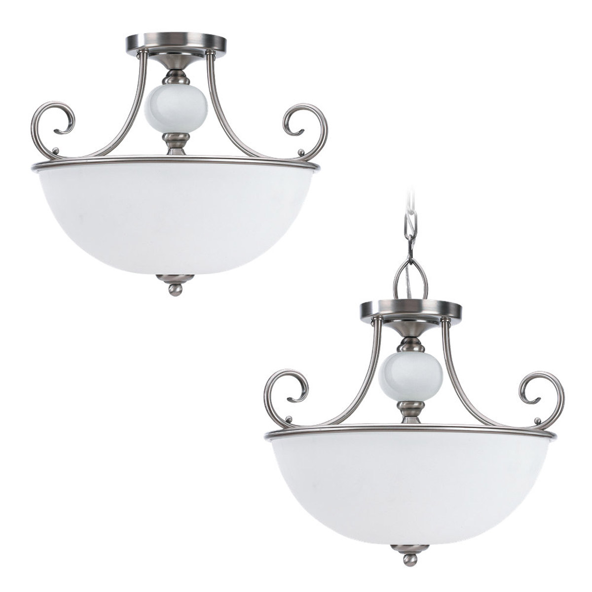 Sea Gull Lighting Montclaire 3 Light Pendant Convertible in Antique Brushed Nickel 51105-965 photo