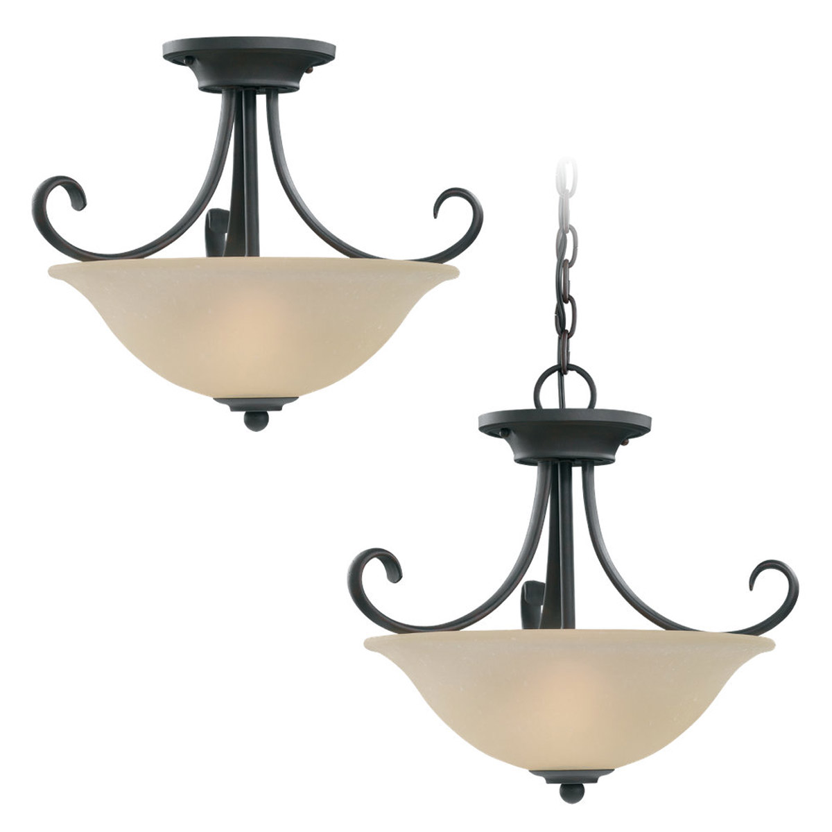 Sea Gull Lighting Del Prato 2 Light Convertible Semi-Flush Mount in Misted Bronze 51120-814