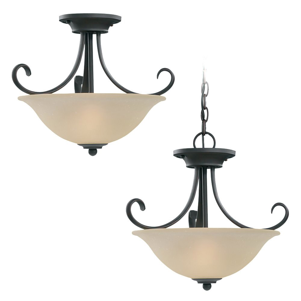 Sea Gull Lighting Del Prato 2 Light Pendant Convertible in Chestnut Bronze 51120-820