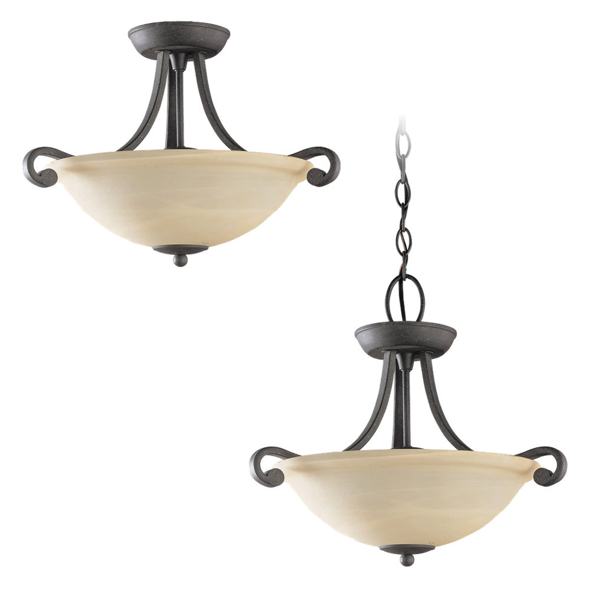 Sea Gull Lighting Serenity 2 Light Semi-Flush Mount Convertible in Weathered Iron 51190-07