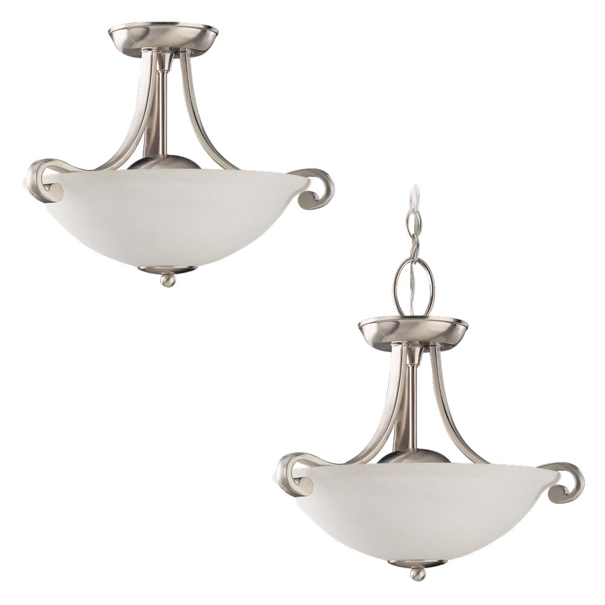 Sea Gull Lighting Serenity 2 Light Pendant Convertible in Brushed Nickel 51190-962