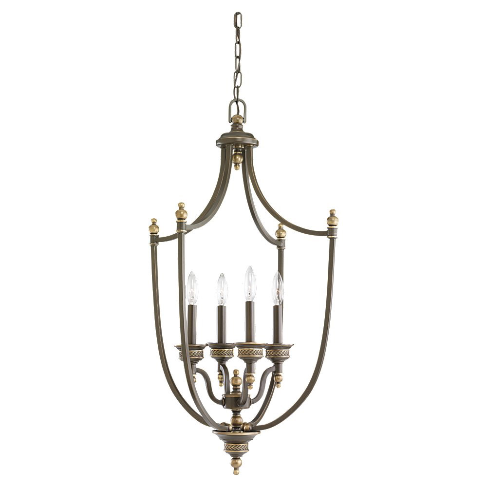 Sea Gull Lighting Laurel Leaf 4 Light Foyer Pendant in Estate Bronze 51350-708