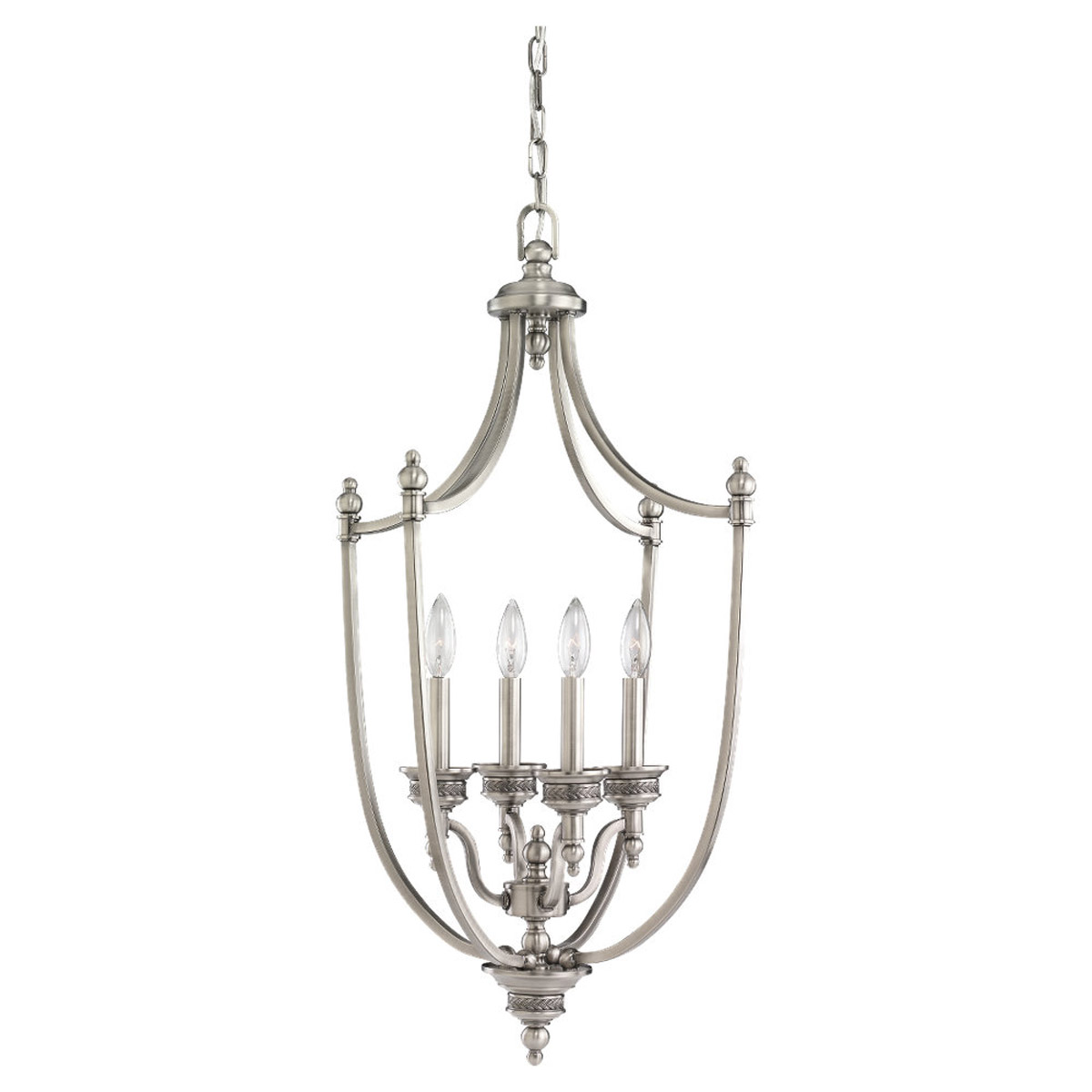 Sea Gull Lighting Laurel Leaf 4 Light Foyer Pendant in Antique Brushed Nickel 51350-965
