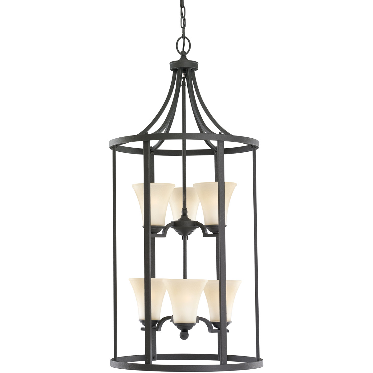 Sea Gull 51376-839 Somerton 6 Light 19 inch Blacksmith Foyer Pendant Ceiling Light in Cafe Tint Glass, Standard photo