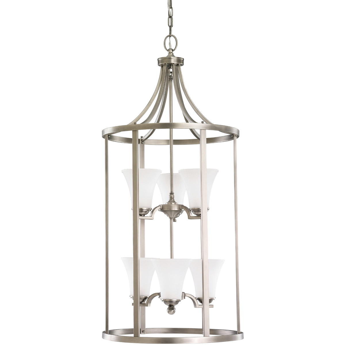 Sea Gull 51376-965 Somerton 6 Light 19 inch Antique Brushed Nickel Foyer Pendant Ceiling Light in Satin Etched Glass, Standard photo