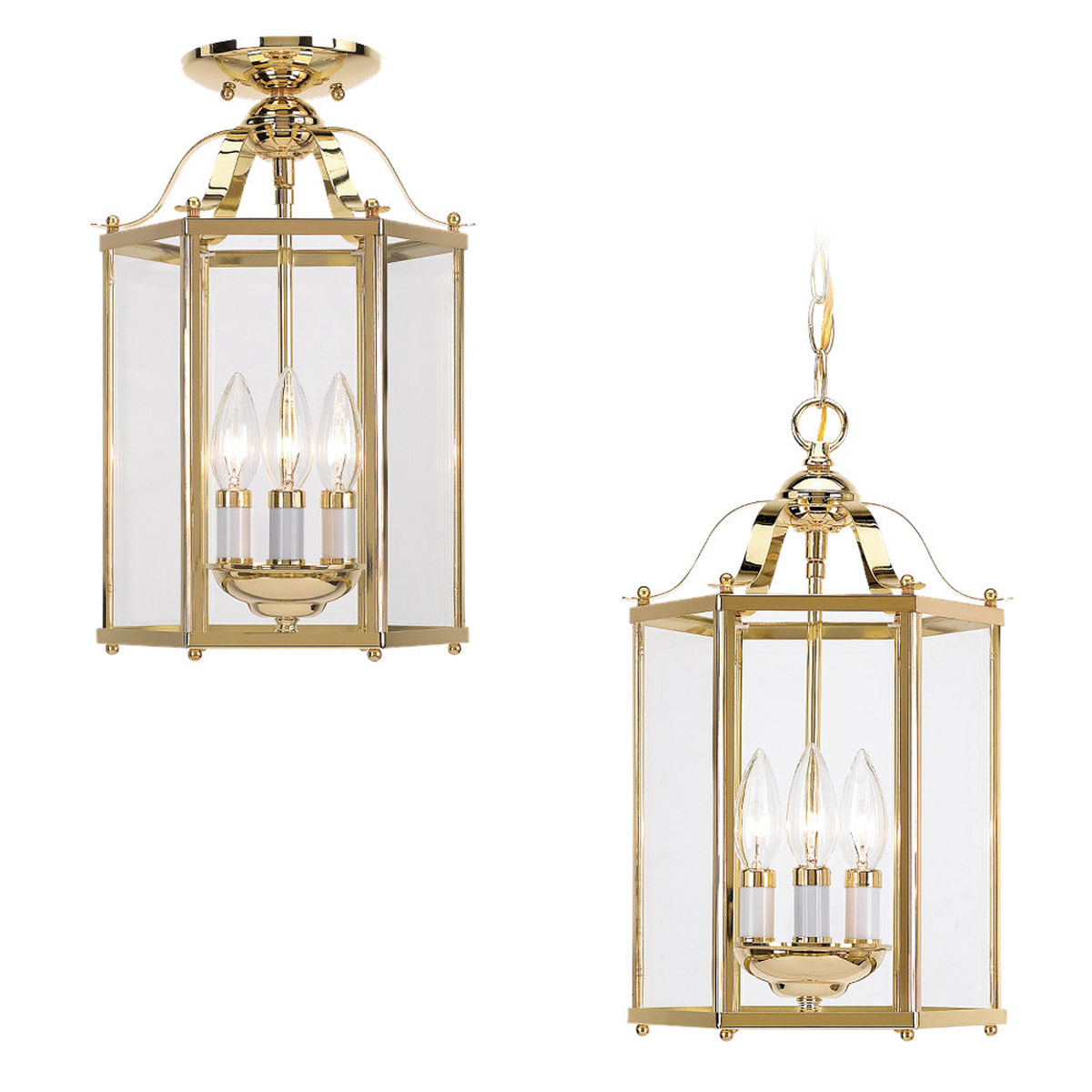 Sea Gull Lighting Bretton 3 Light Pendant Convertible in Polished Brass 5231-02