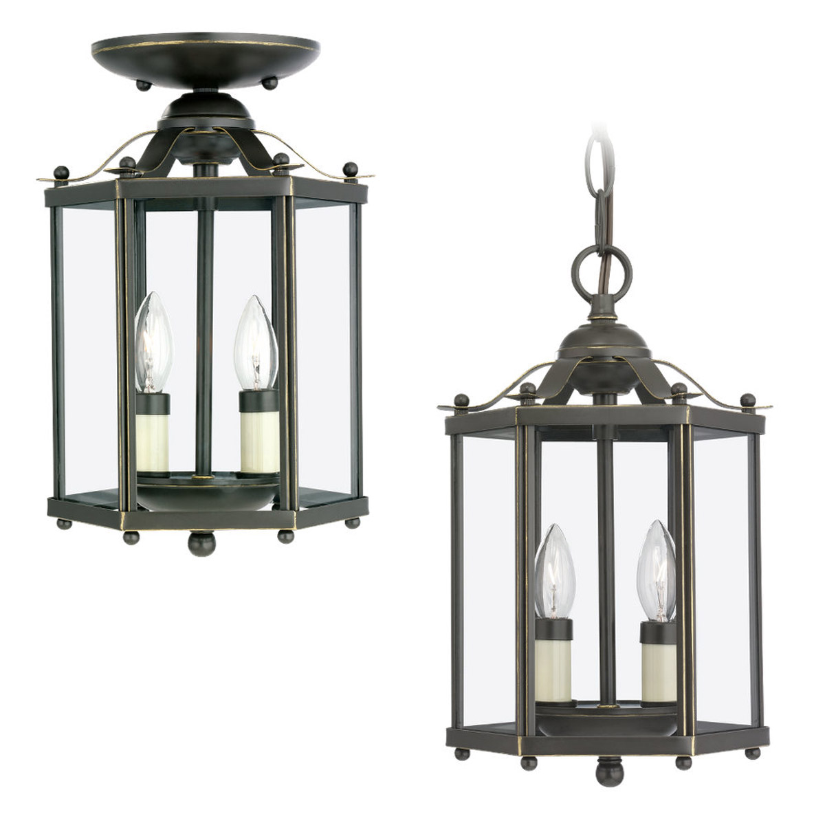 Sea Gull Lighting Bretton 2 Light Pendant Convertible in Heirloom Bronze 5232-782 photo
