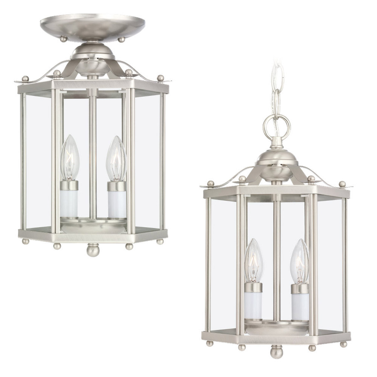 Sea Gull Lighting Bretton 2 Light Pendant Convertible in Brushed Nickel 5232-962