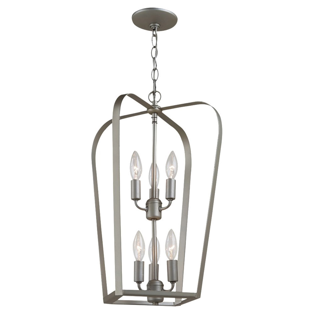 Sea Gull Lighting Windgate 6 Light Foyer Pendant in Painted Brushed Nickel 54941-753 photo