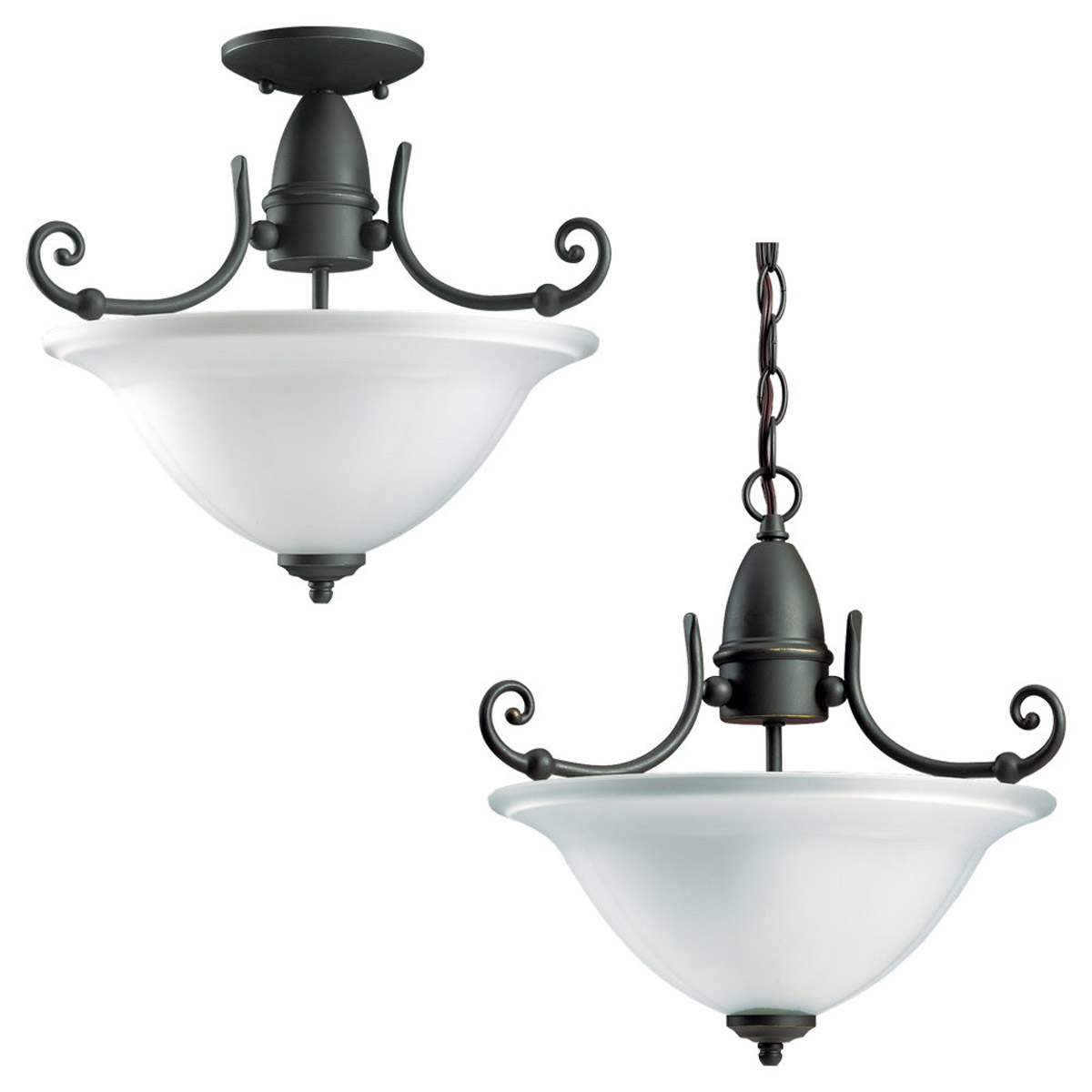 Sea Gull Lighting Canterbury 1 Light Convertible Semi-Flush in Antique Bronze 59050BLE-71