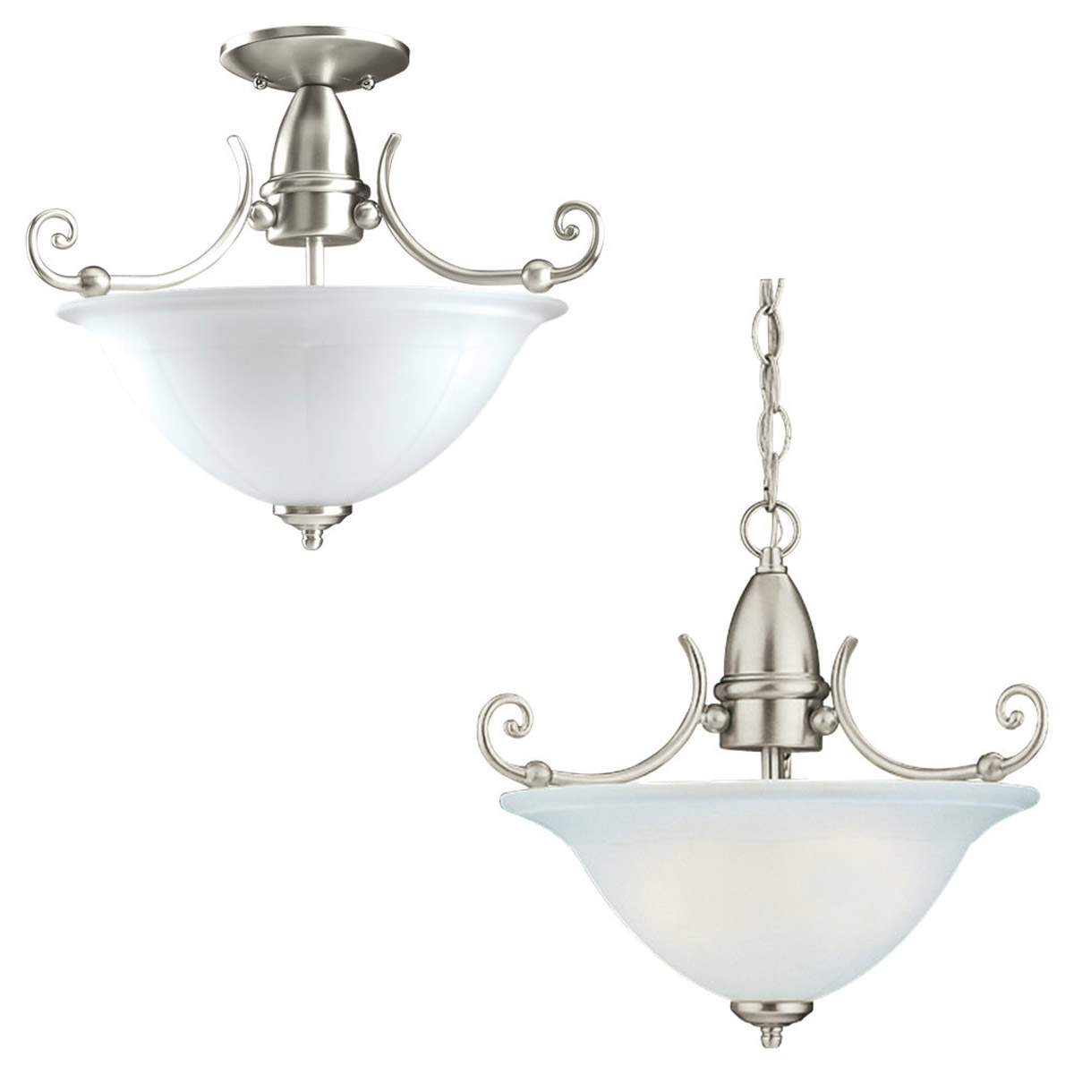 Sea Gull Lighting Canterbury 1 Light Convertible Semi-Flush in Brushed Nickel 59050BLE-962