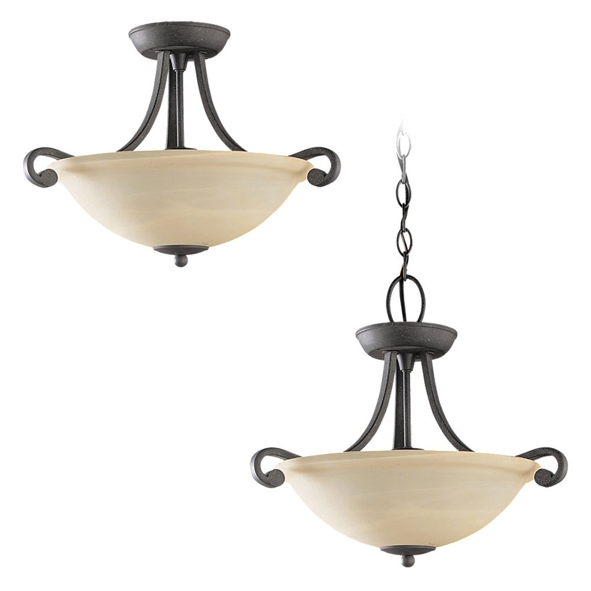 Sea Gull Lighting Serenity 3 Light Semi-Flush Mount in Weathered Iron 59159BLE-07