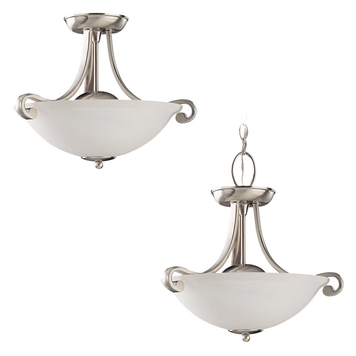 Sea Gull Lighting Serenity 3 Light Semi-Flush Mount in Brushed Nickel 59159BLE-962