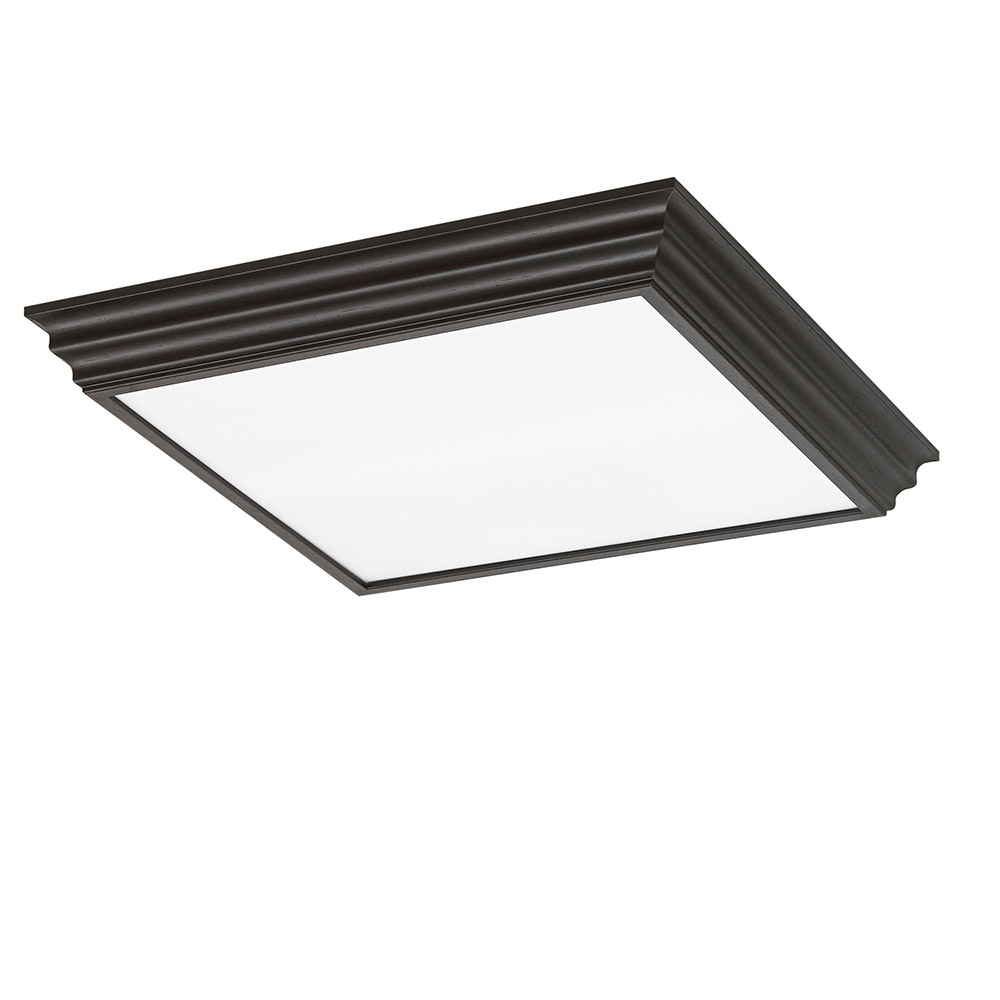 Sea Gull Drop Lens Fluorescent 4 Light Flush Mount in Espresso 59360LE-831