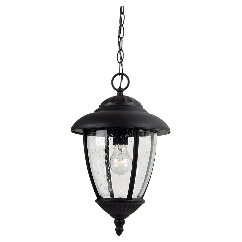 Sea Gull Lighting Lambert Hill 1 Light Outdoor Pendant in Black 60068-12