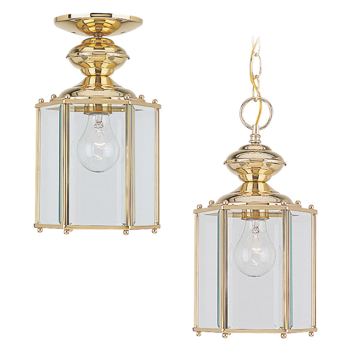 Sea Gull Lighting Classico 1 Light Outdoor Pendant in Polished Brass 6008-02 photo