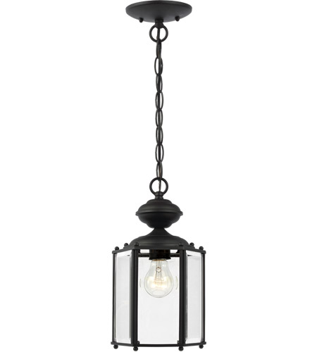 Sea Gull Lighting Classico 1 Light Outdoor Pendant in Black 6008-12 photo