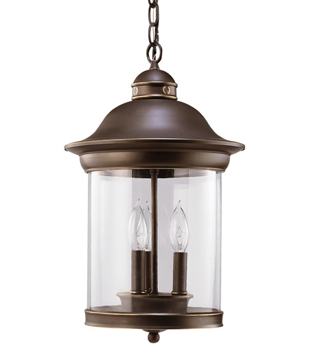 Sea Gull Lighting Hermitage 3 Light Outdoor Pendant in Antique Bronze 60081-71 photo