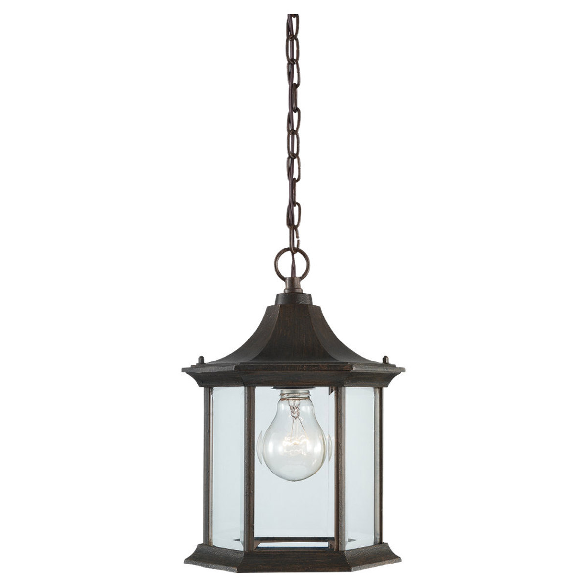 Sea Gull Lighting Ardsley Court 1 Light Outdoor Pendant in Textured Rust Patina 60136-08 photo