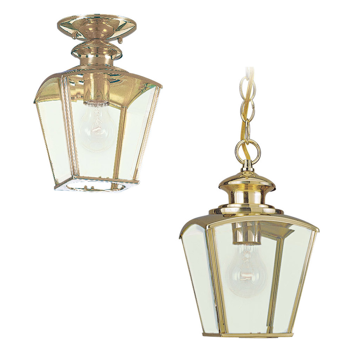 Sea Gull Lighting New Castle 1 Light Outdoor Pendant in Polished Brass 6023-02