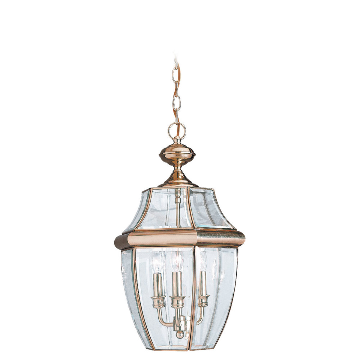 Sea Gull Lighting Lancaster 3 Light Outdoor Pendant in Polished Brass 6039-02 photo