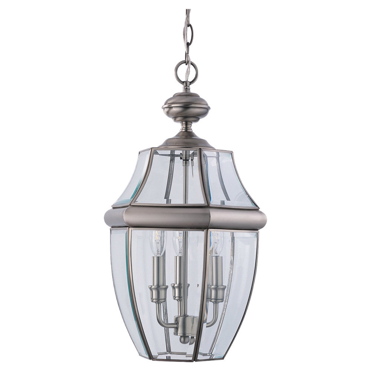 Sea Gull Lighting Lancaster 3 Light Outdoor Pendant in Antique Brushed Nickel 6039-965