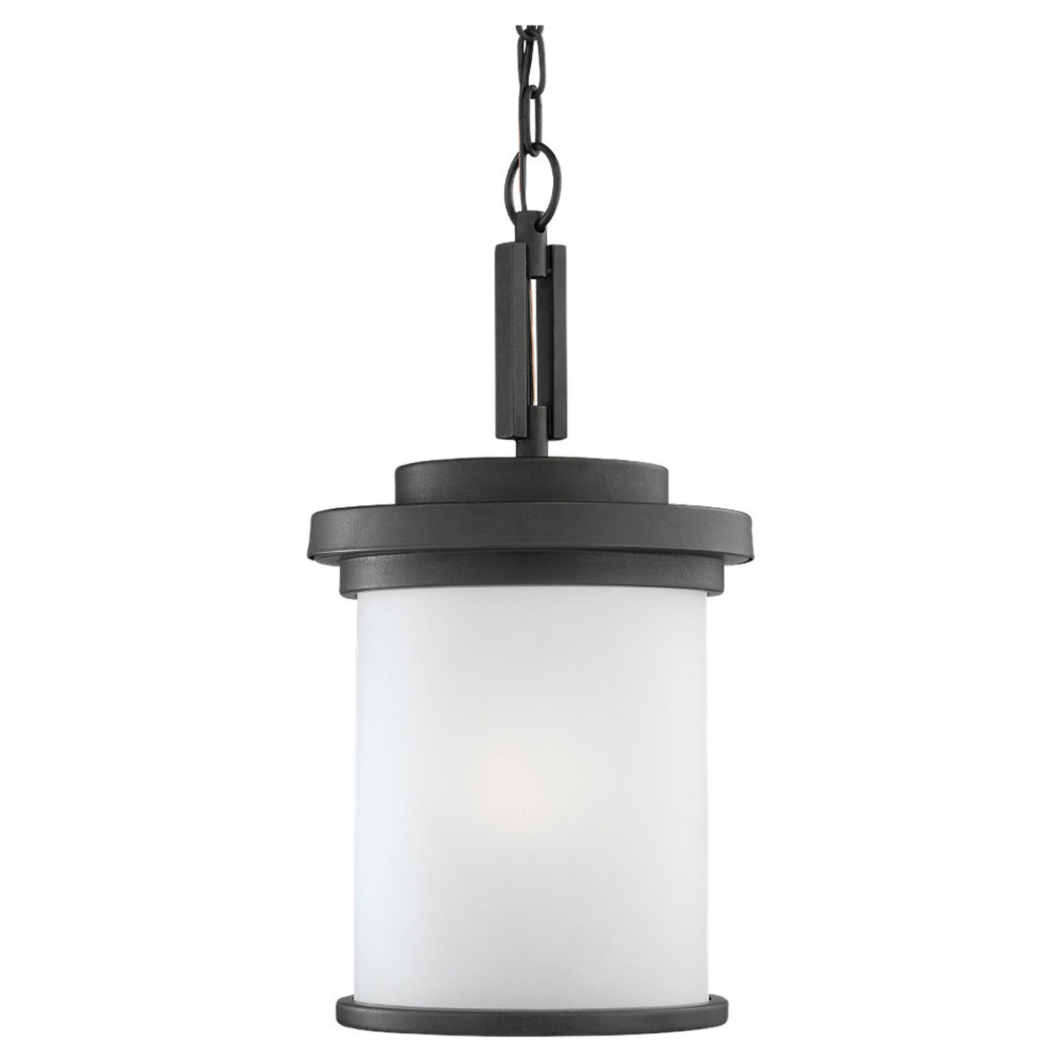 Sea Gull 60660-185 Winnetka 1 Light 10 inch Forged Iron Outdoor Pendant in Satin Etched Glass photo