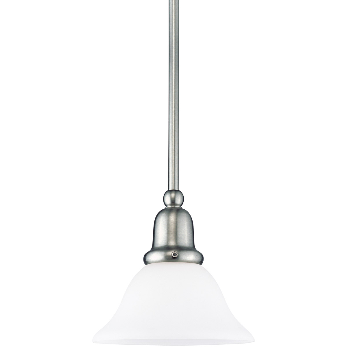 Sea Gull 61060-962 Sussex 1 Light 8 inch Brushed Nickel Mini Pendant Ceiling Light in Satin White Glass photo