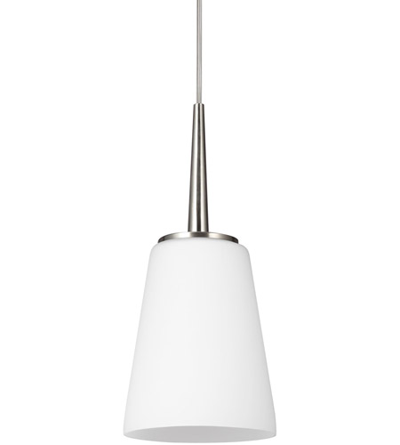 Sea Gull Driscoll 1 Light Mini Pendant in Brushed Nickel 6140401-962