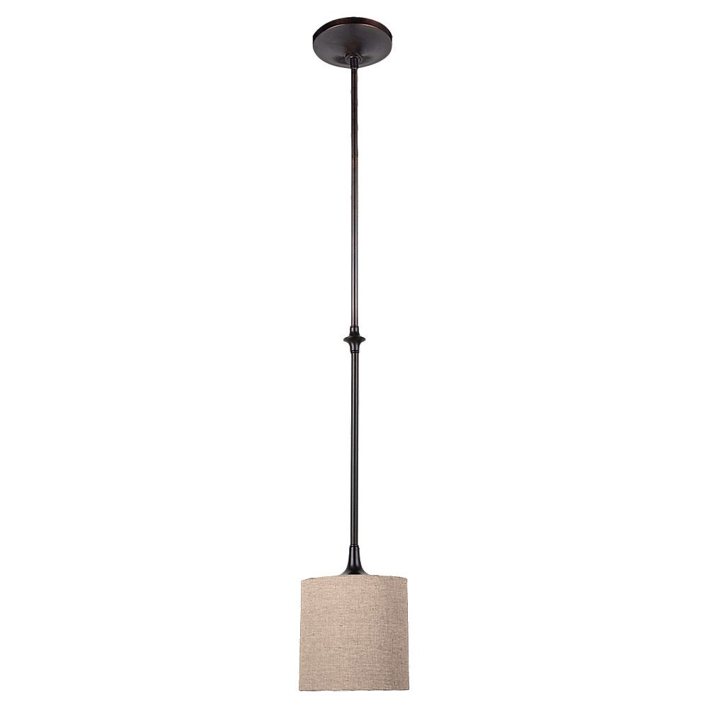 Sea Gull 61952-710 Stirling 1 Light 7 inch Burnt Sienna Mini Pendant Ceiling Light in Beige Linen Fabric photo