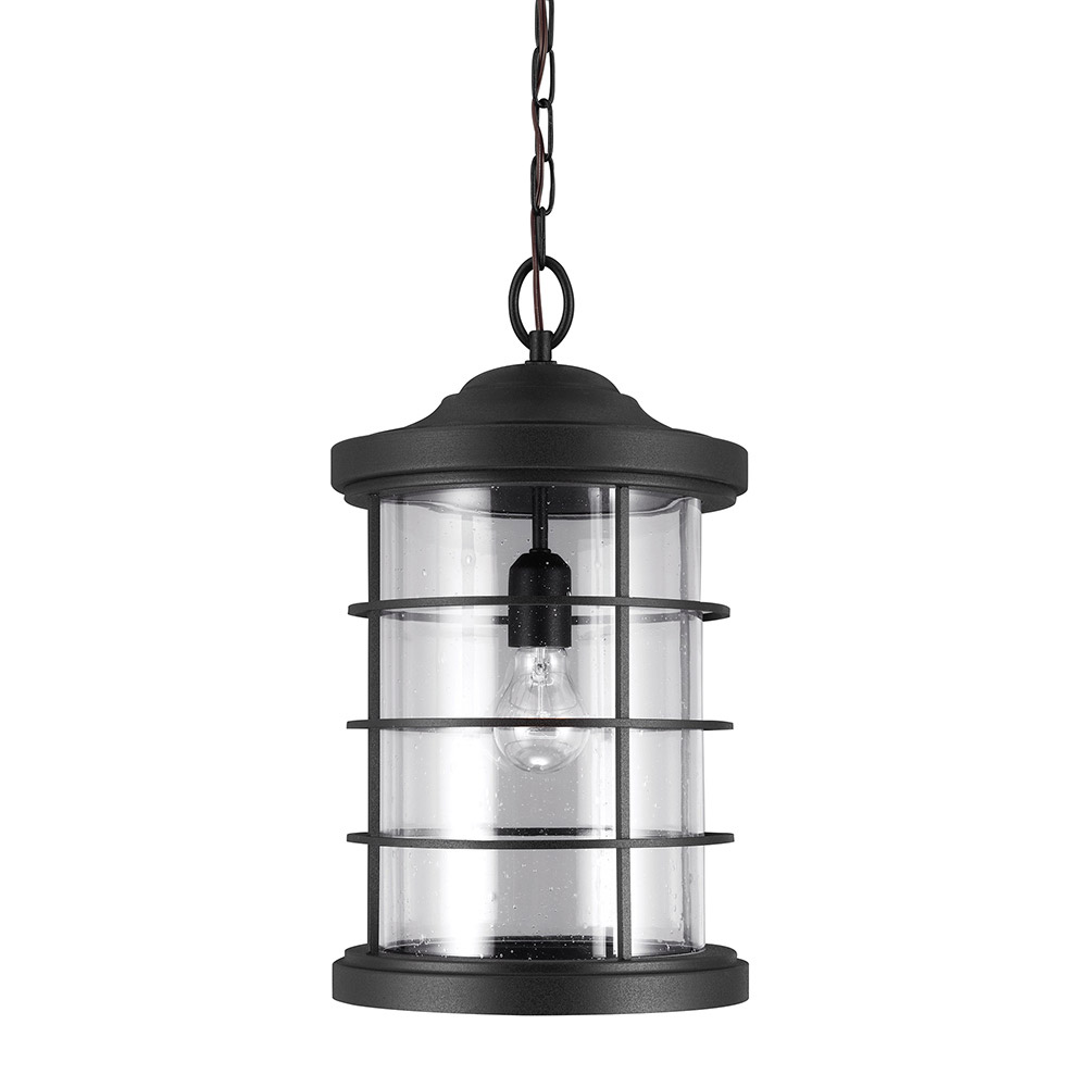 Sea Gull 6224401BLE-12 Sauganash 1 Light 10 inch Black Outdoor Pendant in Satin Etched Glass, Fluorescent photo