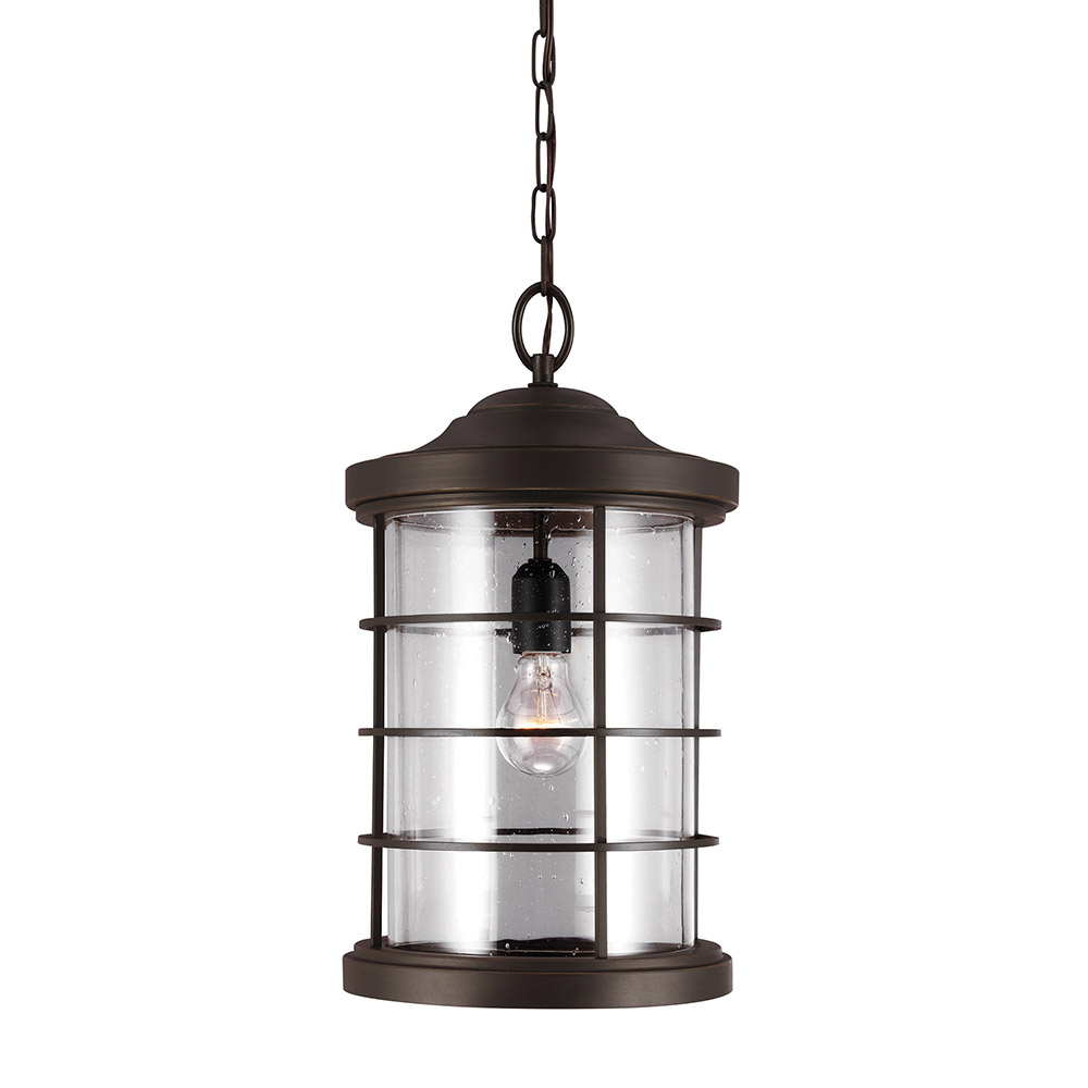 Sea Gull 6224401BLE-71 Sauganash 1 Light 10 inch Antique Bronze Outdoor Pendant in Clear Seeded Glass, Fluorescent photo