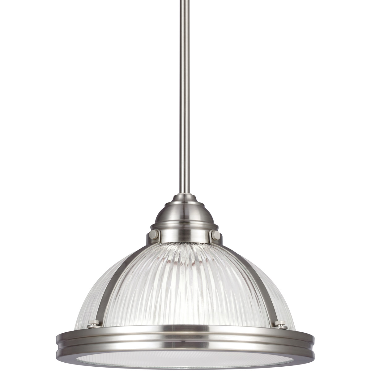 Sea Gull 65060-962 Pratt Street Prismatic 1 Light 11 inch Brushed Nickel Pendant Ceiling Light in Standard photo