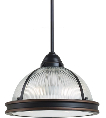 Sea Gull Lighting Pratt Street Prismatic Fluorescent 2 Light Pendant in Autumn Bronze 65061BLE-715