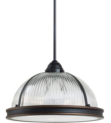 Sea Gull 65062BLE-715 Pratt Street Prismatic 3 Light 16 inch Autumn Bronze Pendant Ceiling Light in Fluorescent photo