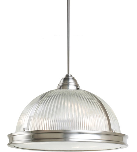 Sea Gull Lighting Pratt Street Prismatic Fluorescent 3 Light Pendant in Brushed Nickel 65062BLE-962 photo