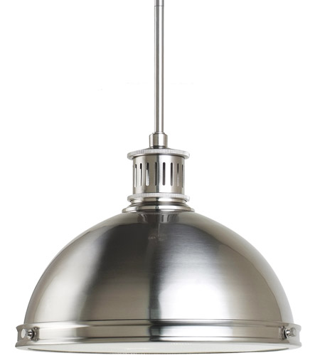 Sea Gull Lighting Pratt Street Metal Fluorescent 2 Light Pendant in Brushed Nickel 65086BLE-962