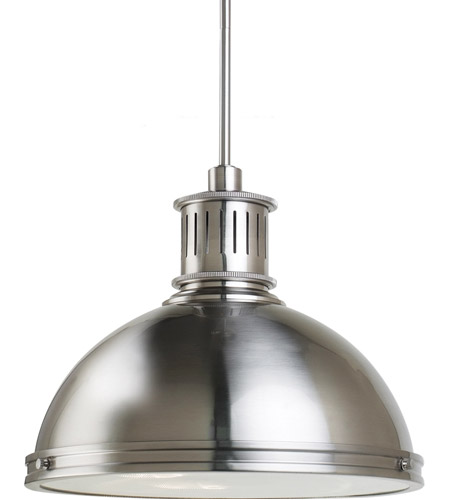 Sea Gull Lighting Pratt Street Metal Fluorescent 3 Light Pendant in Brushed Nickel 65087BLE-962