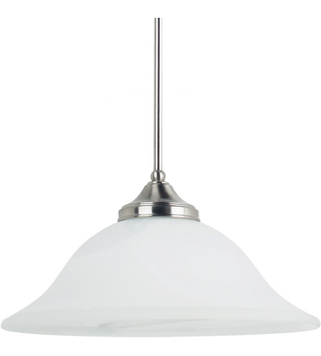 Sea Gull Lighting Brockton Fluorescent 1 Light Pendant in Brushed Nickel 65174BLE-962