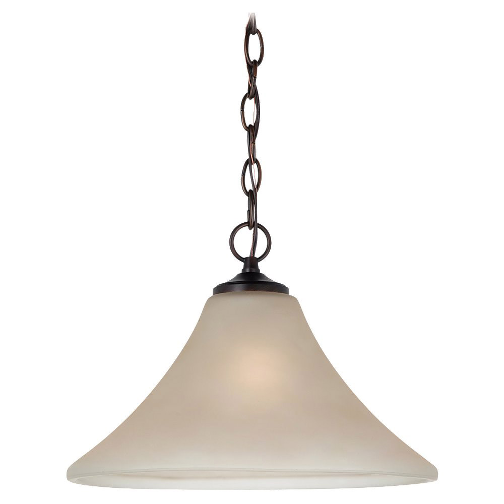 Sea Gull 65180-710 Montreal 1 Light 14 inch Burnt Sienna Pendant Down Light Ceiling Light in Cafe Tint Glass, Standard photo