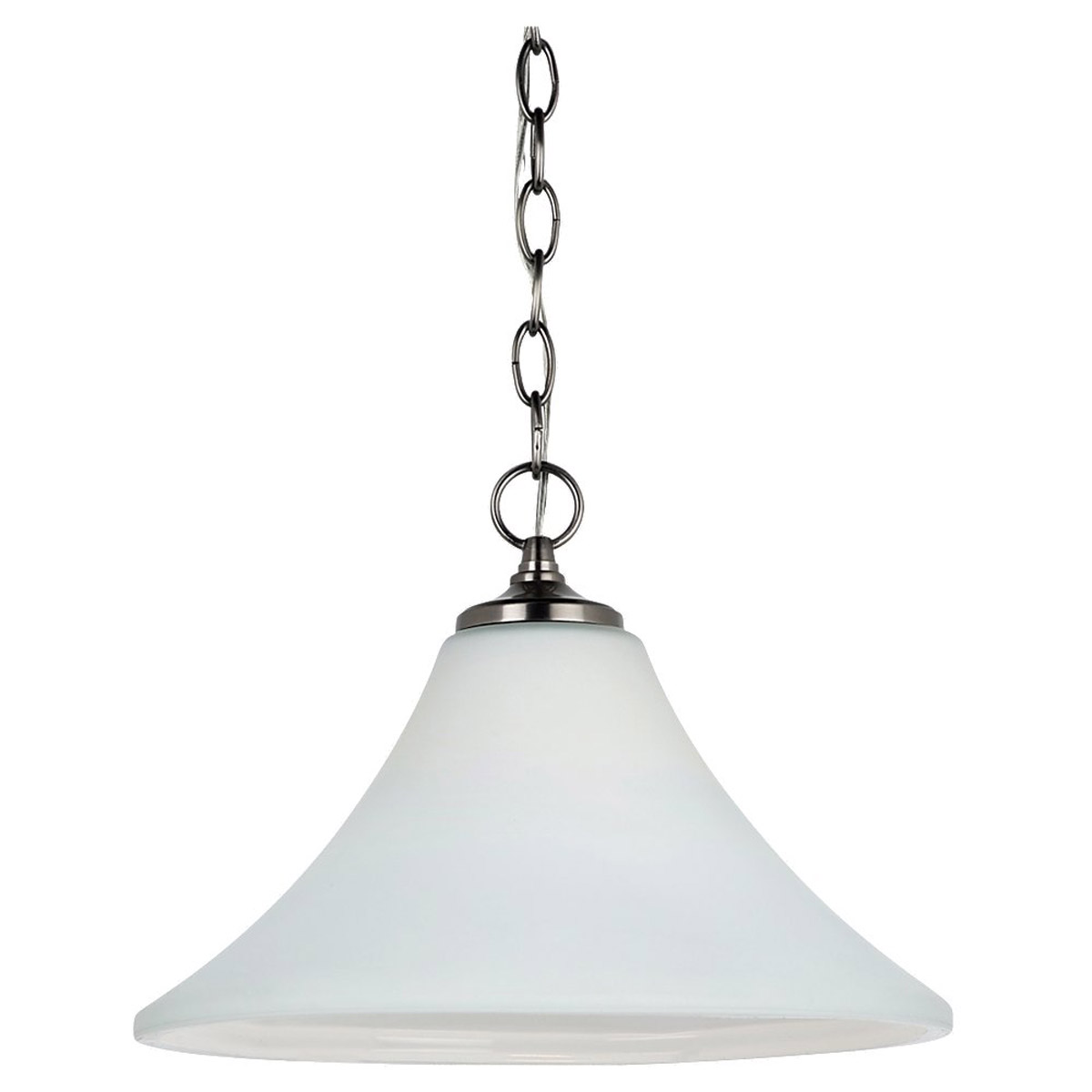 Sea Gull 65180BLE-965 Montreal 1 Light 14 inch Antique Brushed Nickel Pendant Down Light Ceiling Light in Etched,  White Inside Glass, Fluorescent photo