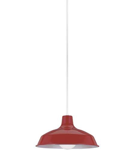 Sea Gull 6519-21 Painted Shade Pendants 1 Light 16 inch Red Shade Pendant Ceiling Light photo