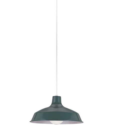 Sea Gull 6519-95 Painted Shade Pendants 1 Light 16 inch Emerald Green Shade Pendant Ceiling Light photo