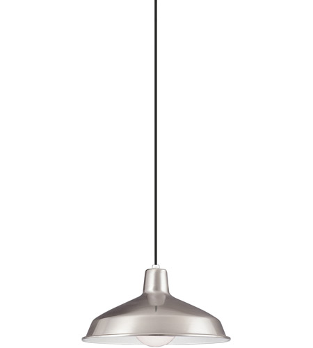 Sea Gull 6519-98 Painted Shade Pendants 1 Light 16 inch Brushed Stainless Shade Pendant Ceiling Light photo