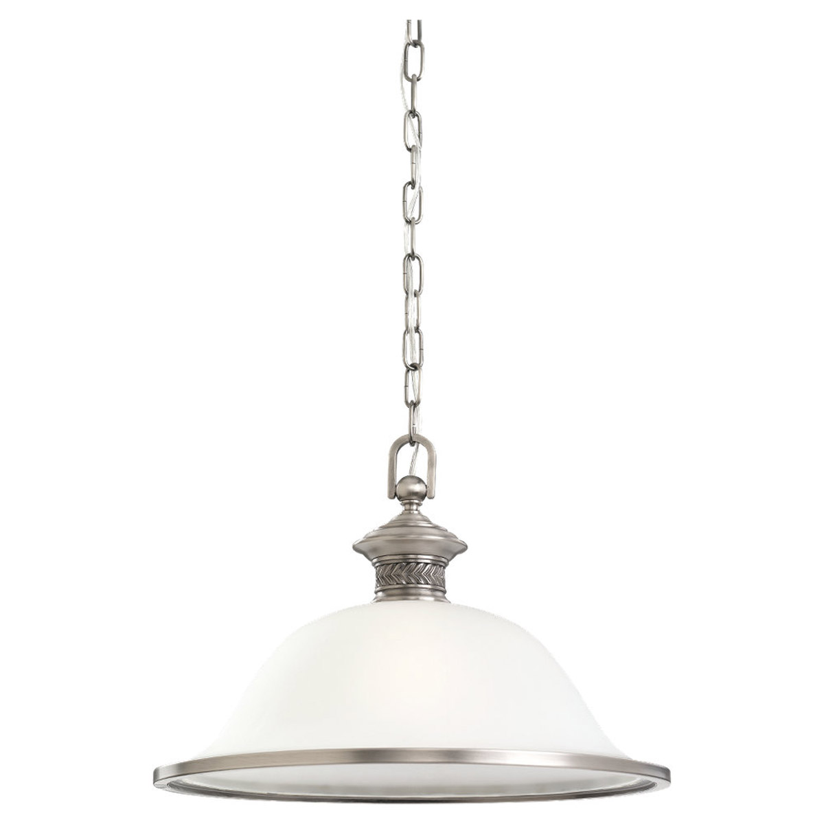 Sea Gull Lighting Laurel Leaf 1 Light Pendant in Antique Brushed Nickel 65350-965
