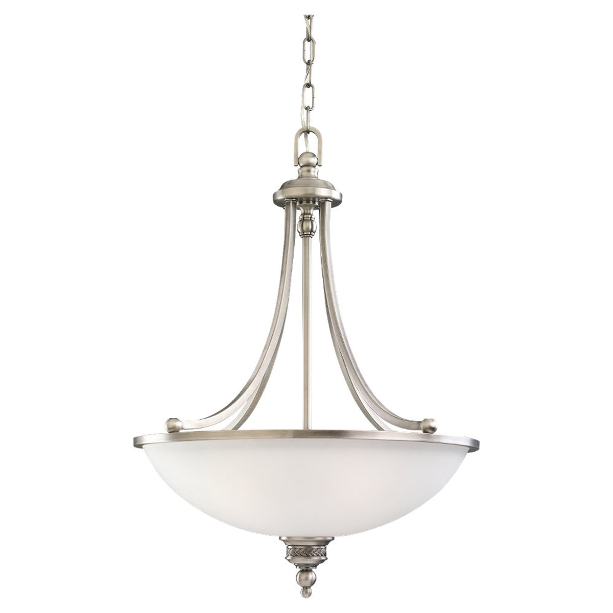 Sea Gull Lighting Laurel Leaf 3 Light Pendant in Antique Brushed Nickel 65351-965